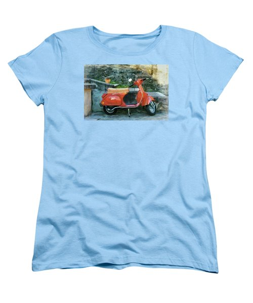 Women's T-Shirt (Standard Cut) featuring the painting Vespa Parked by Jeff Kolker