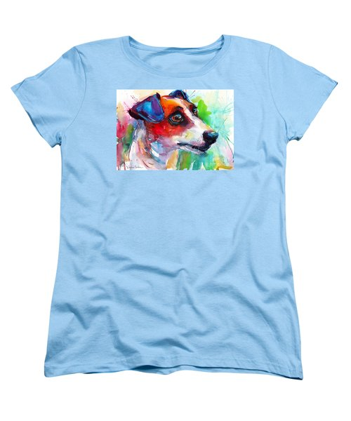 Vibrant Jack Russell Terrier Dog Women's T-Shirt (Standard Cut) by Svetlana Novikova