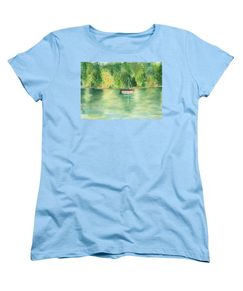 Women's T-Shirt (Standard Cut) featuring the painting View From Millbay Ferry by Vicki  Housel