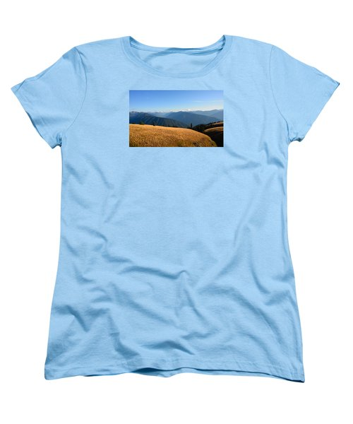 Women's T-Shirt (Standard Cut) featuring the photograph View Of Olympics From Hurricane Ridge by Ronda Broatch