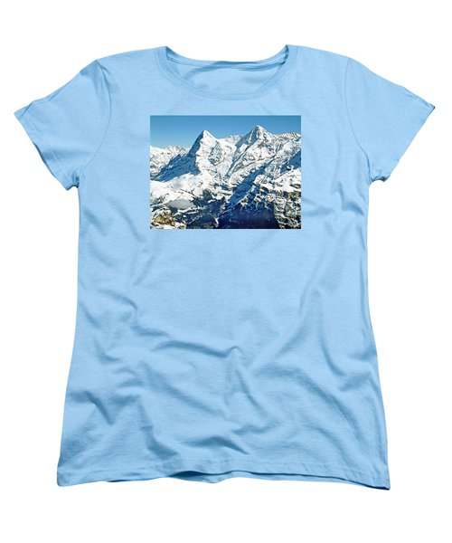 Women's T-Shirt (Standard Cut) featuring the photograph View Of The Eiger From The Piz Gloria by Joseph Hendrix
