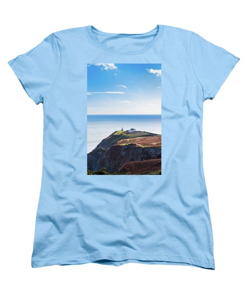 Women's T-Shirt (Standard Cut) featuring the photograph View Of The Trails On Howth Cliffs With The Lighthouse In Irelan by Semmick Photo
