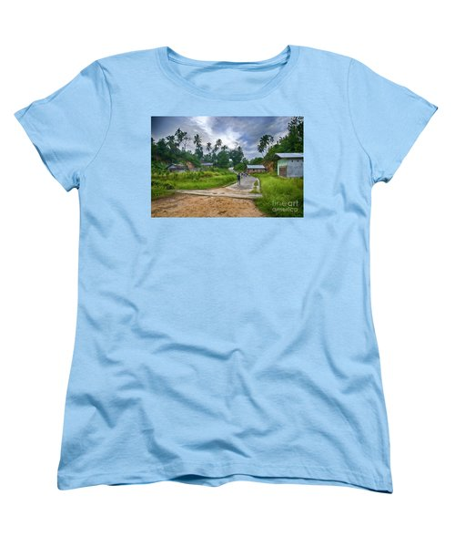 Women's T-Shirt (Standard Cut) featuring the photograph Village Scene by Charuhas Images