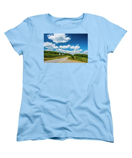 Women's T-Shirt (Standard Cut) featuring the photograph Vineyards In Summer by Steven Ainsworth
