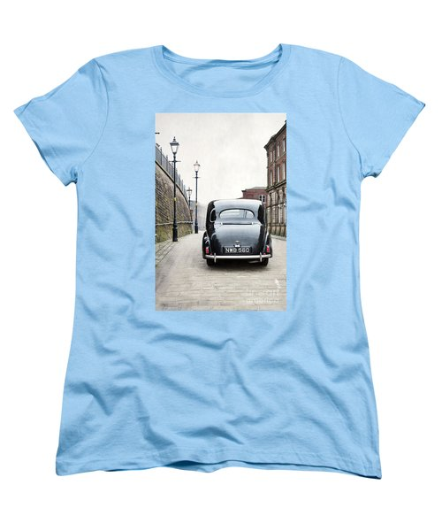 Vintage Car On A Cobbled Street Women's T-Shirt (Standard Cut) by Lee Avison