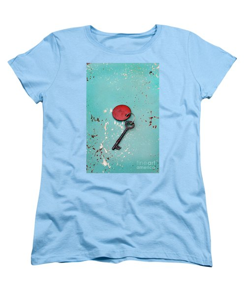 Women's T-Shirt (Standard Cut) featuring the photograph Vintage Key With Red Tag by Jill Battaglia