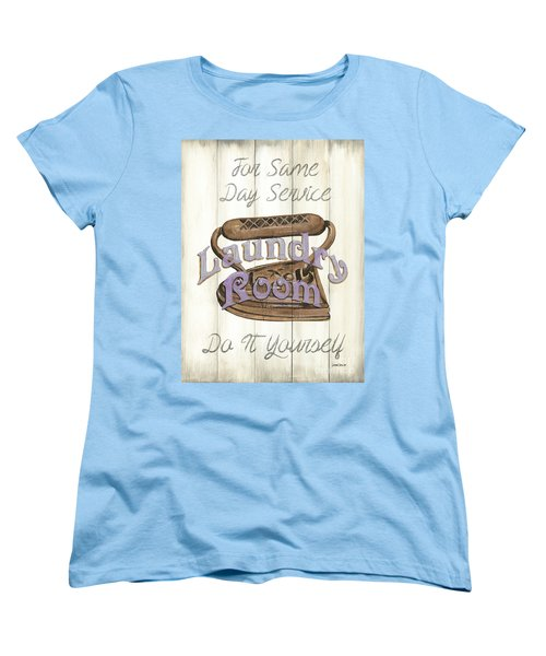Women's T-Shirt (Standard Cut) featuring the painting Vintage Laundry Room 1 by Debbie DeWitt