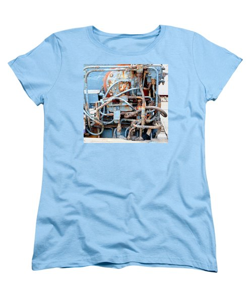 Women's T-Shirt (Standard Cut) featuring the photograph Vintage Old Diesel Engine On A Ship by Yali Shi
