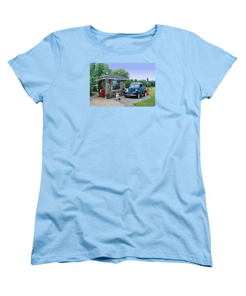 Women's T-Shirt (Standard Cut) featuring the photograph Vintage Truck And Filling Station by Judy  Johnson