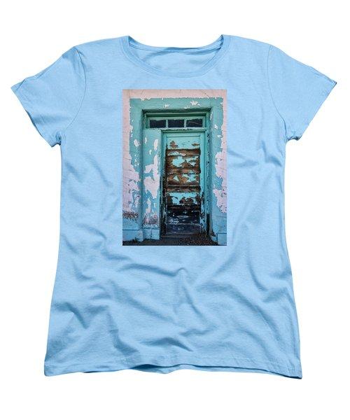Women's T-Shirt (Standard Cut) featuring the photograph Vintage Turquoise Door  by Saija Lehtonen
