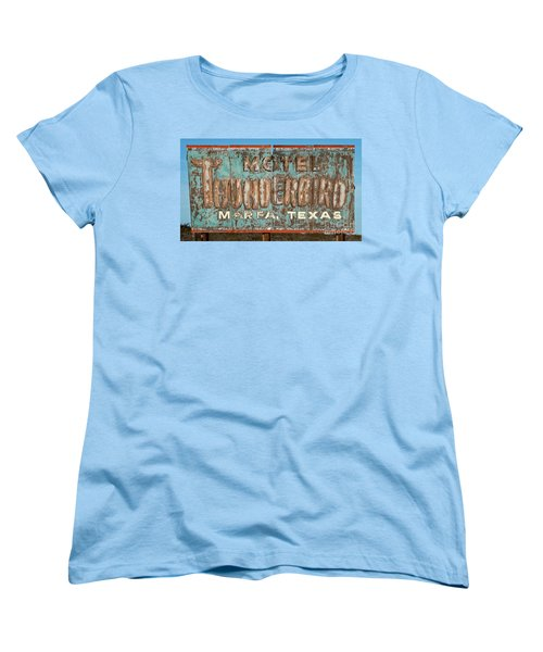 Women's T-Shirt (Standard Cut) featuring the photograph Vintage Weathered Thunderbird Motel Sign Marfa Texas by John Stephens
