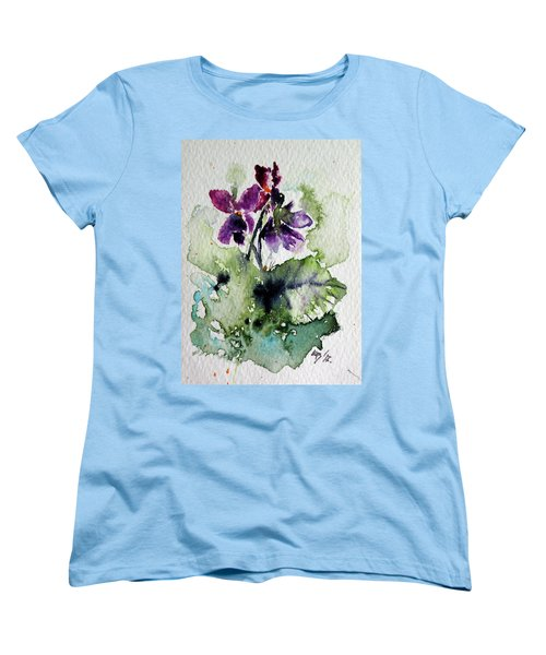Women's T-Shirt (Standard Cut) featuring the painting Violet Iv by Kovacs Anna Brigitta