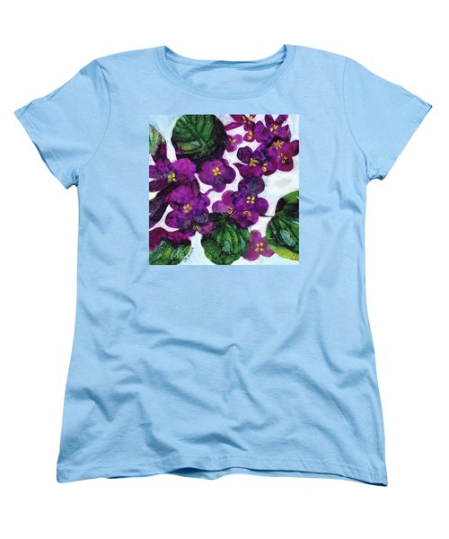 Women's T-Shirt (Standard Cut) featuring the painting Violets by Julie Maas