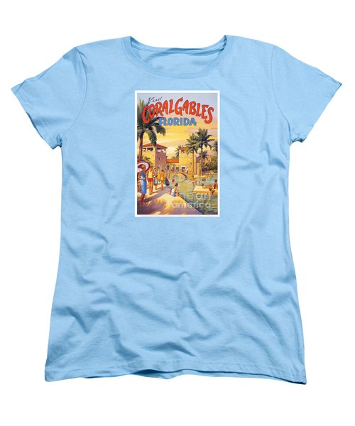 Visit Coral Gables-florida Women's T-Shirt (Standard Cut) by Nostalgic Prints