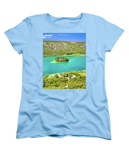 Visovac Lake Island Monastery Aerial View Women's T-Shirt (Standard Cut) by Brch Photography