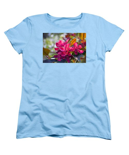 Vivid Pink Flowers Women's T-Shirt (Standard Cut) by Tina M Wenger