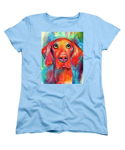 Vizsla Dog Portrait Women's T-Shirt (Standard Cut) by Svetlana Novikova