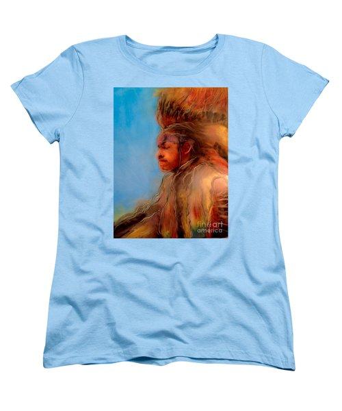 Women's T-Shirt (Standard Cut) featuring the painting Wakantanka Maka Kin Kaye by FeatherStone Studio Julie A Miller