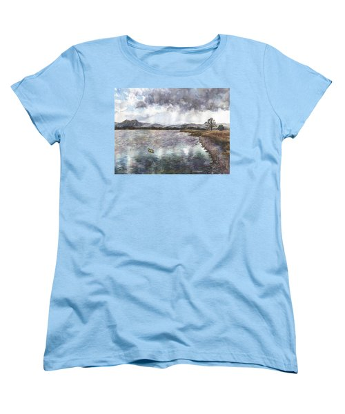 Women's T-Shirt (Standard Cut) featuring the painting Walden Ponds On An April Evening by Anne Gifford