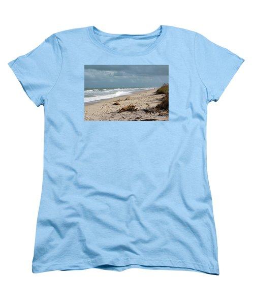 Walks On The Beach Women's T-Shirt (Standard Cut) by Megan Dirsa-DuBois