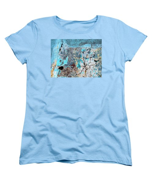 Women's T-Shirt (Standard Cut) featuring the photograph Wall Abstract 211 by Maria Huntley