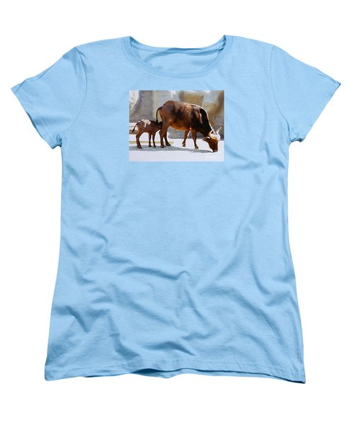 Water Buffalo And Feeding Calf Women's T-Shirt (Standard Cut) by Merton Allen
