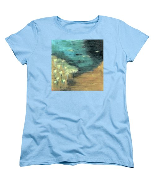 Women's T-Shirt (Standard Cut) featuring the painting Water Lilies At The Pond by Michal Mitak Mahgerefteh