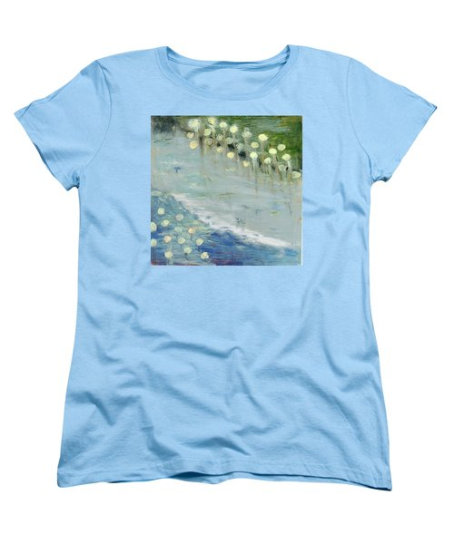 Women's T-Shirt (Standard Cut) featuring the painting Water Lilies by Michal Mitak Mahgerefteh