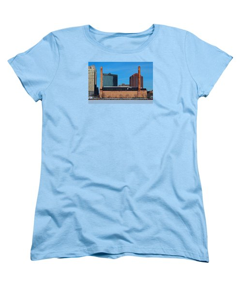 Women's T-Shirt (Standard Cut) featuring the photograph Water Street Steam Plant In Winter by Michiale Schneider