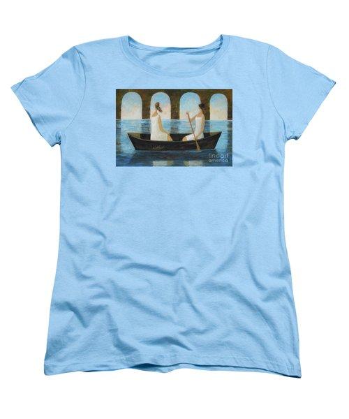 Women's T-Shirt (Standard Cut) featuring the painting Water Under The Bridge by Glenn Quist