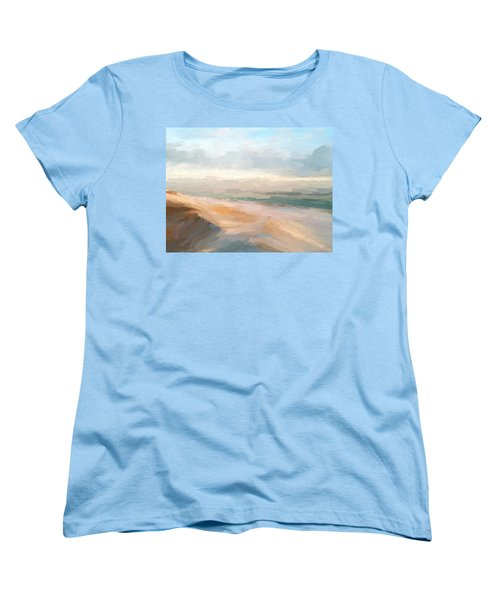 Watercolor Beach Abstract Women's T-Shirt (Standard Cut) by Anthony Fishburne
