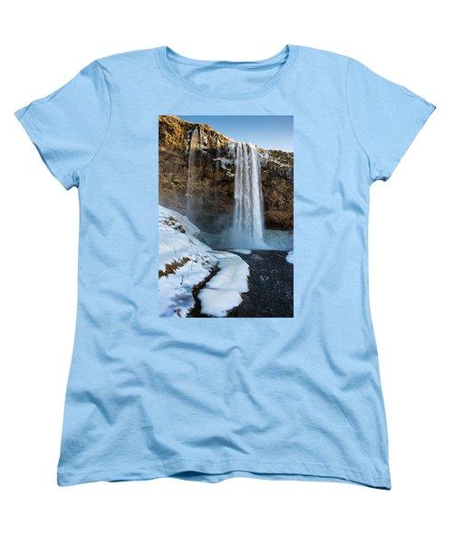 Women's T-Shirt (Standard Cut) featuring the photograph Waterfall Seljalandsfoss Iceland In Winter by Matthias Hauser