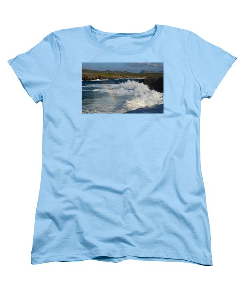 Waves And Rainbow At Clogher Women's T-Shirt (Standard Cut) by Barbara Walsh