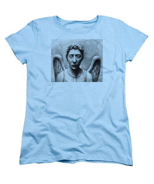 Weeping Angel Don't Blink Doctor Who Fan Art Women's T-Shirt (Standard Cut) by Olga Shvartsur