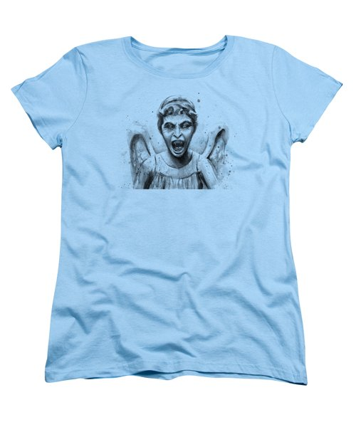 Weeping Angel Watercolor - Don't Blink Women's T-Shirt (Standard Cut) by Olga Shvartsur