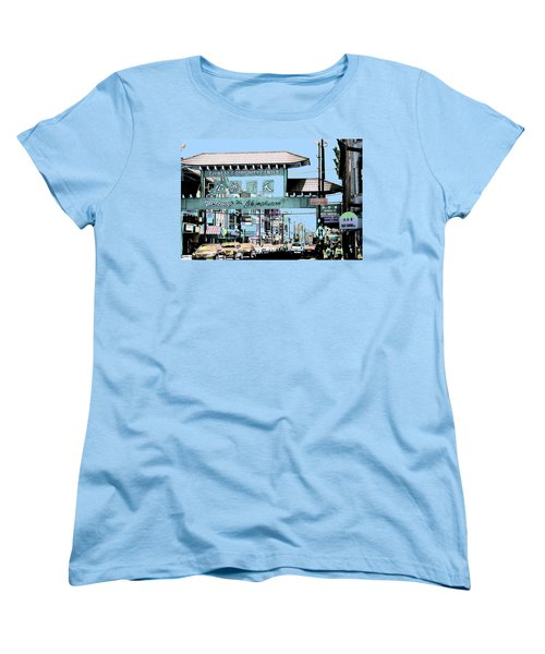 Welcome To Chinatown Sign Blue Women's T-Shirt (Standard Cut) by Marianne Dow