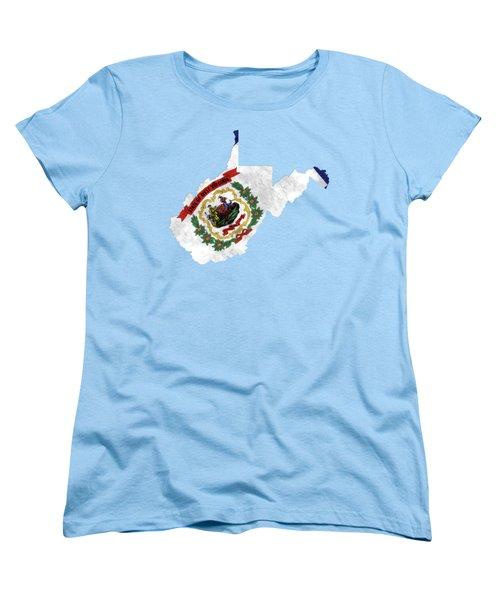 West Virginia Map Art With Flag Design Women's T-Shirt (Standard Cut)