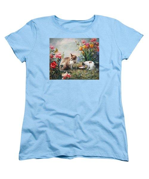 Women's T-Shirt (Standard Cut) featuring the painting What A Girl Kitten Wants by Svitozar Nenyuk