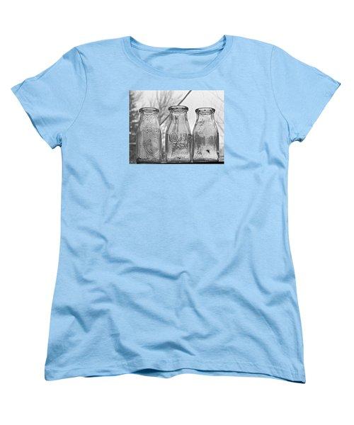 What The Milk Man Left, Bw Women's T-Shirt (Standard Cut) by Sandra Church