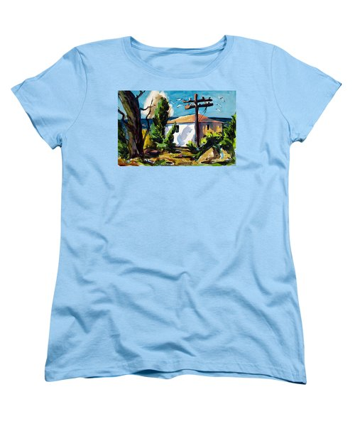 Women's T-Shirt (Standard Cut) featuring the painting Where I Will Be Double Matted And Plexi-glass Metal Framed by Charlie Spear