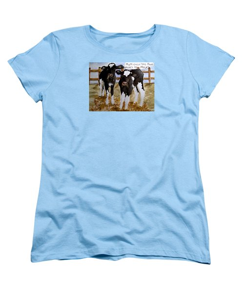 Women's T-Shirt (Standard Cut) featuring the painting Where's My Milk? by Carol Grimes