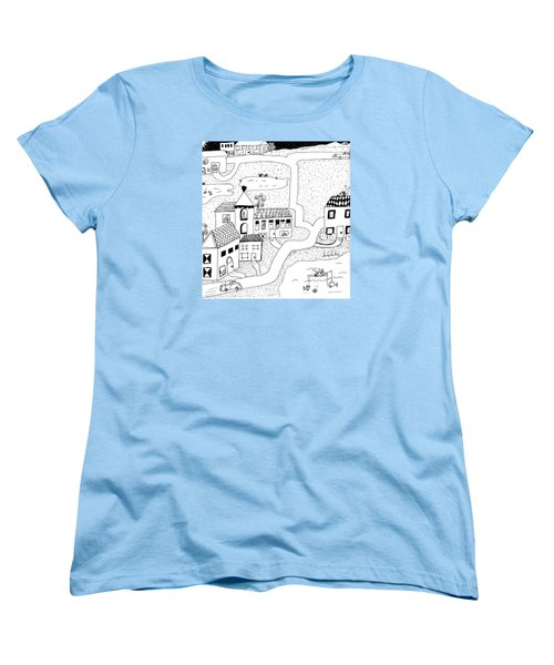Women's T-Shirt (Standard Cut) featuring the painting Whimsy Town by Lou Belcher