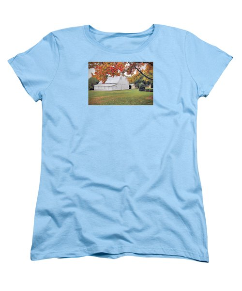 White Barn In Autumn Women's T-Shirt (Standard Cut) by Marion Johnson