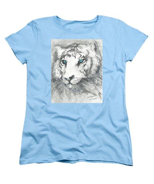 White Bengal Tiger Women's T-Shirt (Standard Cut) by Denise Fulmer