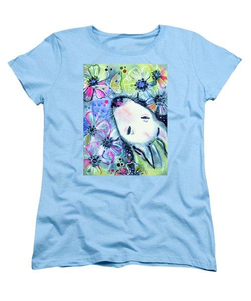 Women's T-Shirt (Standard Cut) featuring the painting White Bull Terrier And Butterfly by Zaira Dzhaubaeva