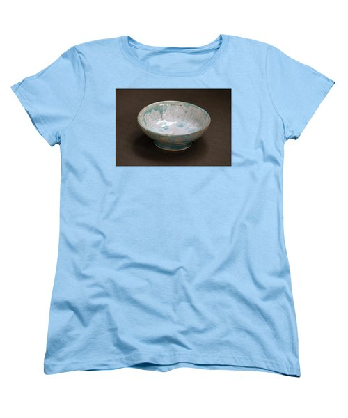 White Ceramic Bowl With Turquoise Blue Glaze Drips Women's T-Shirt (Standard Cut) by Suzanne Gaff