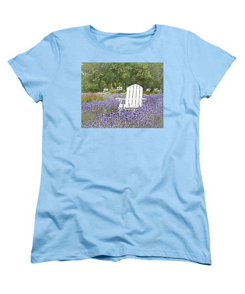Women's T-Shirt (Standard Cut) featuring the photograph White Chair In A Field Of Lavender Flowers by Brooke T Ryan