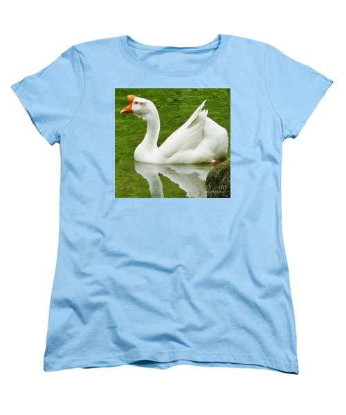 Women's T-Shirt (Standard Cut) featuring the photograph White Chinese Goose by Susan Garren