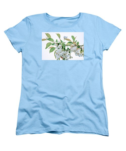 White Crabapple Blossoms Women's T-Shirt (Standard Cut) by Skip Tribby