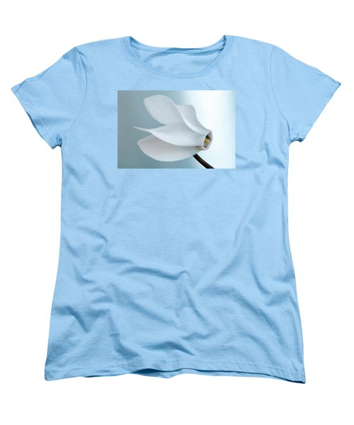 Women's T-Shirt (Standard Cut) featuring the photograph White Cyclamen. by Terence Davis